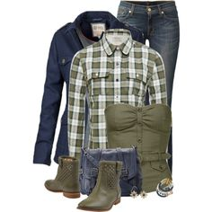 Blue and Olive Green, created by kswirsding on Polyvore