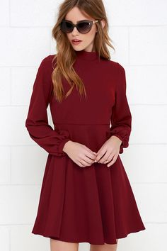 Got the Notion Wine Red Long Sleeve Dress at Lulus.com!
