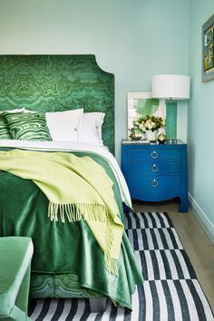 If you've already decided you want to spotlight green or you still need some convincing and inspiration, you're in the right place. We're showcasing designer green bedrooms that set the gold standard for decorating with this nature-inspired color. Keep reading to see how this versatile anchor color can transform just about any bedroom, no matter where it is—an estate, city apartment, or even a mountain chalet. Bedroom Green, Green Bedrooms, Interior Decorating, Interior Design, Bedroom Apartment, Beautiful Homes, House Beautiful, Color Inspiration, Upholstery