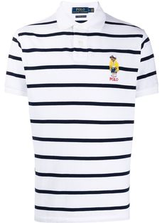 Polo Ralph Lauren, Polo Jeans, Striped Polo Shirt, Front Button, Short Sleeves, Bear, Shape, Navy, Clothing