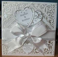 White & Silver Wedding Card by: BigMamma: Wedding Day Cards, Wedding Shower Cards, Wedding Cards Handmade, Wedding Anniversary Cards, Greeting Cards Handmade, Wedding Gifts, Spellbinders Cards, Engagement Cards, Baby Toys