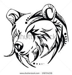 Illustration of Bear head tattoo vector vector art, clipart and stock vectors. Bear Head Tattoo, Tribal Bear Tattoo, Head Tattoos, Tribal Tattoos, Tatoos, Arte Tribal, Tribal Art, Bear Face Drawing, Grizzly Bear Tattoos