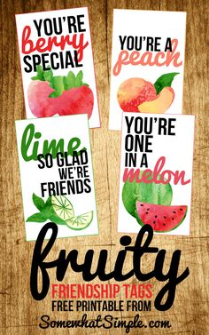 Looking for a great generic tag to accompany gifts? Then you're gonna LOVE these adorable 3x5 Fruit Friendship Gift tags! #FreePrintable