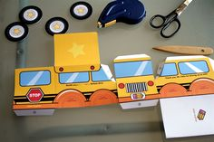 printable back to school ideas crafts paper buses toy cute box crafting  - Paper Glitter