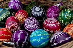 Lithuanian wax design Easter eggs.