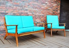 Retro Patio Furniture, why can't I find this at a thrift store like she did! Retro Furniture, Mid Century Modern Furniture, Upcycled Furniture, Midcentury Modern, Furniture Ideas, Patio Furniture Makeover, Patio Furniture Cushions, Outdoor Furniture, New Home Wishes