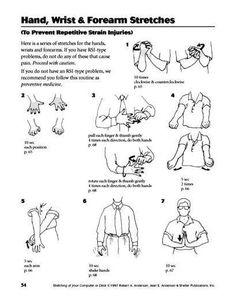 Hand, Wrist & Forearm Stretches: EASY 4 minute sequence from Bob Anderson's… Hand Therapy, Massage Therapy, Forearm Stretches, Forearm Workout At Home, Carpal Tunnel Exercises, Repetitive Strain Injury, Physical Therapy Exercises, Physical Therapist, Office Exercise