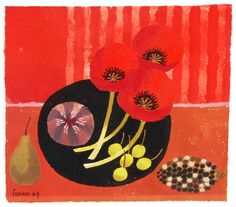 257 - Mary Feddon (1915-2012) - Three Red Poppies Modern Art, Contemporary Art, Art Nouveau, Art Deco, Poppy Pattern, Aesthetic Movement, March 2013, Allotment, Red Poppies