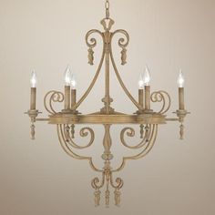 "French White 6-Light 28"" Wide Chandelier -"