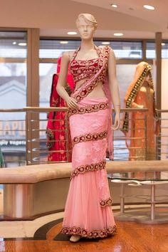 Wrap Lehenga Saree Embroidery: Zardosi and Kardana with stone work Fabric: Blouse: Velvet Lehenga: Lace Net