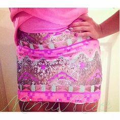 Pink tribal glitter skirt   summer fashion   summer skirts