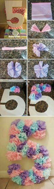más y más manualidades: Como decorar números y letras con papel de seda