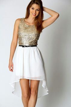 Gold and white dress with black belt