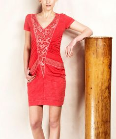 Loving this Scarlet Ruched V-Neck Dress on #zulily! #zulilyfinds