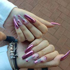 132 fabulous ways to wear glitter nails like a princess – page 31 May Nails, Aycrlic Nails, Hair And Nails, Glitter Nails, Pink Chrome Nails, Pink Acrylic Nails, Gorgeous Nails, Pretty Nails, Chrome Nails Designs