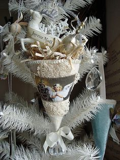 In place of Stockings   THIS is a great substitute, place right one the Tree  Some Satin Moire  and Lace and Scapbook pages  this is a great project!
