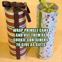 Wrap Pringles cans and use them as cookie containers!!