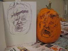 I love Halloween, mostly carving pumpkins.  From a sketch to a pumpkin carve, they are fun.
