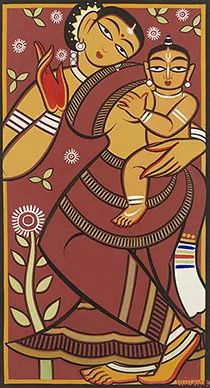 View Untitled Yashodha and Krishna by Jamini Roy on artnet. Browse upcoming and past auction lots by Jamini Roy. Modern Indian Art, Indian Folk Art, Indian Artist, Art Painting Gallery, Mural Painting, Painting Tips, Madhubani Art, Madhubani Painting, Arte Tribal