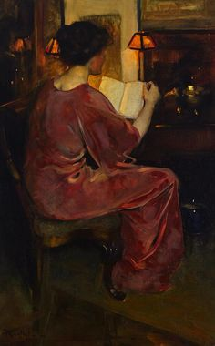 The Story (exh.1913). Florence Carlyle (Canadian, 1861-1923). Oil on canvas. The woman appears rapt in her activity of reading the book which she holds. Her dress and her complexion are rosy and beautiful – rich, pink tones flowing through both flesh...