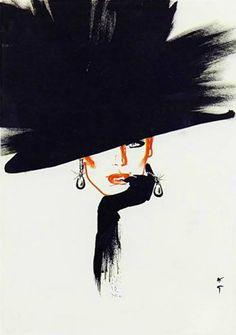 Le chapeau Noir - 1984 - Fashion illustration by René Gruau - @~ Mlle