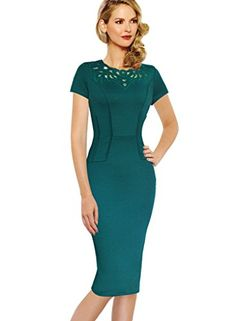 VfEmage Womens Elegant Vintage Hollow out Embroidered Casual Party Dress 1947 Green 22 * Check this awesome product by going to the link at the image.