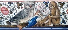 Detail of owl holding open music book supported by ape singing, from Statutes of England to 1495, about 1495-1500. Bodleian Library