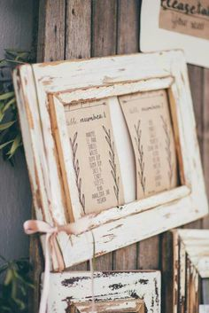 Photo frames are a great idea for a table seating display.  I used the raw wood look to compliment my table themes