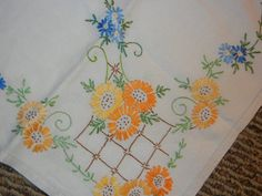 Vintage Linen Embroidered Cottage Tablecloth by PicketFencePlace Embroidery Transfers, Free Machine Embroidery Designs, Embroidery Patterns, Vintage Embroidery, Cross Stitch Embroidery, Vintage Tablecloths, Linen Tablecloth, Linens And Lace, Needlework