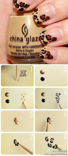 Gorgeous Leopard Nail Art Tutorial ...great idea for placement on dominant hand
