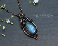 Elven inspired Antiqued Copper and Labradorite Necklace - pendant, gemstone, jewelry, wire wrapped, wire, rustic, bohemian, blue