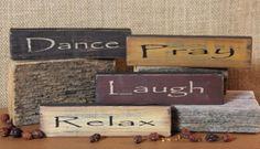 Set of 4 - Dance, pray, laugh Relax