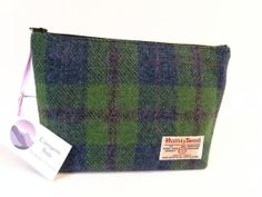 Harris Tweed Washbag Toiletries Makeup Bag Green and Blue