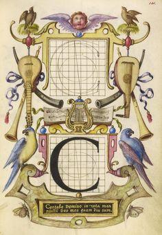 Joris Hoefnagel (illuminator)  [Flemish / Hungarian, 1542 - 1600] Guide for Constructing the Letter C, Flemish and Hungarian, about 1591 - 1596