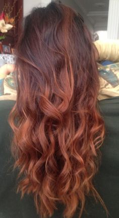 I may do this. Half way there. The bottom of my existing ombre might stay a dark blonde but i've already lightened the dark part from brown to this deeper red. Next month my hair should look like this! :)