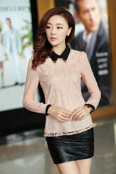 Elegant Pink Doll Collar Long Sleeve Chiffon Blouse