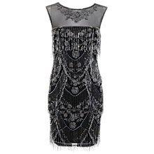 Buy Miss Selfridge Embellished Shelly Fringe Dress, Black Online at johnlewis.com