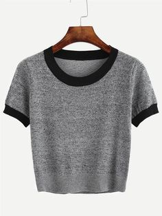 Shop Grey Contrast Trim Knitted T-shirt online. SheIn offers Grey Contrast Trim Knitted T-shirt & more to fit your fashionable needs. Summer Outfits, Casual Outfits, Fashion Outfits, Womens Fashion, Fashion Fashion, Fashion Ideas, Vintage Fashion, Diy Vetement, Knit Shirt