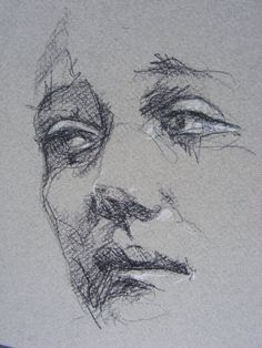 The most noticeable element to this sketch is the texture of the paper. Shading on this paper creates organic lines. As well as shading some soft contour lines have been used to suggest elements of the face such as the cheek, nose and eyebrows. These methods of pencil sketching work successfully together, as well as the unique paper.