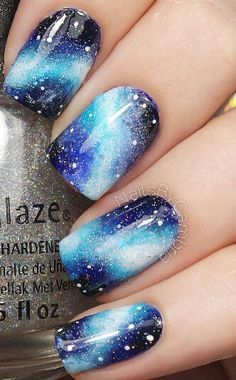 Galaxy Nails 25 Ideas to Paint Your Blue Nails for Fall - Nail Designs Beach Nail Designs, Cute Nail Designs, Pretty Designs, Teen Nail Designs, Natural Nail Designs, Fingernail Designs, Different Nail Designs, Galaxy Nail Art, Galaxy Galaxy