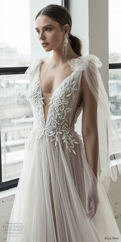 Romanzo by Julie Vino 2019 Wedding Dresses — The Love Story Bridal Collection julie vino 2019 romanzo bridal sleeveless deep plunging sweetheart neckline heavily embellished bodice tulle skirt a line wedding dress chapel train zv Western Wedding Dresses, Best Wedding Dresses, Bridal Dresses, Boho Wedding, Wedding Ideas, Wedding Skirt, Event Dresses, Crystal Wedding, Dresses Dresses
