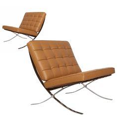Pair of Italian Tan Leather Barcelona Chairs  at DecorNYC