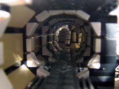 Millenium Falcon interior corridor with padded walls. by Pepa Quin Lego Falcon, Lego Millenium Falcon, Spaceship Interior, Lego Spaceship, Lego Ucs, Padded Wall, Star Wars Spaceships, Star Wars Room, Lego Ship