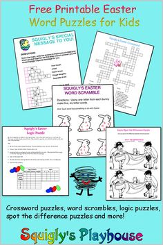 Free printable Easter puzzles for kids. Print these fun word puzzles for kids and have fun solving them. Answers are provided on our site. Choose from crosswords, logic puzzles, word searches, spot the difference puzzles and more. Squigly makes learning f