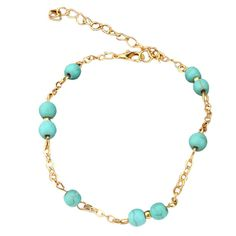 """Sandistore Fashion barefoot Sandal Beaded Turquoise Beads Anklets Chain jewellery. Material:Alloy. Size: 20cm/7.87"""". Wonderful gift for you and your female friends. Catch this beautiful accessories for you. Wonderful gift for you and your friends."""