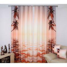 Závesy 3D hnedo lososovej farby s palmami pri mori