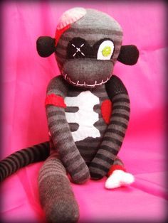 Max The Zombie Sock Monkey  Handmade Plush Doll by Strangelings