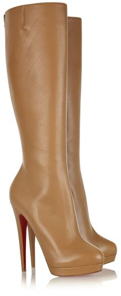 Description of Christian Louboutin Alti Botte 140 Leather Knee High Boots Camel: *Material:Leather *Color:Camel *Have an almond toe *Zip fastening at back *Elasticated pleat detail at side *Heel height:Approximately 140mm/5.5 inches covered heel with a 20mm/1 inch exposed platform *Signature red leather sole.
