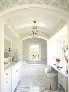 Small Bathroom Design Ideas for beautiful Bathrooms Aqua Wallpaper, Bathroom Wallpaper, Interior Wallpaper, Wallpaper Ideas, Dream Bathrooms, Beautiful Bathrooms, Country Bathrooms, Luxury Bathrooms, Black Bathrooms