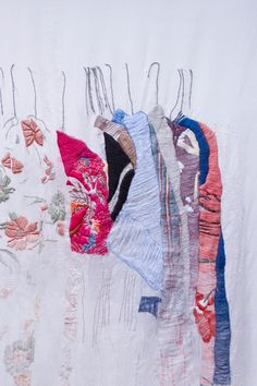 [Pinned by wwww.fiberartnow.net Subscribe to get inspired and connected.] My Closet in San Francisco (detail) closet, contemporary embroidery, thread drawing, drawing, thread, Allison Watkins #embroidery
